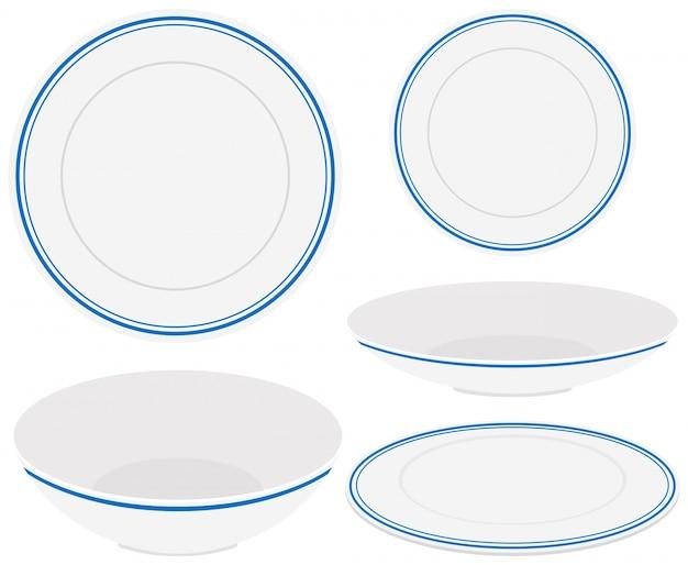 Witte platen met blauwe bekleding