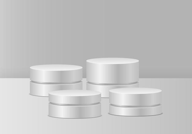Witte podia realistisch voetstuk voor winnaars voetstuk en platformstandaard podiumcilinder