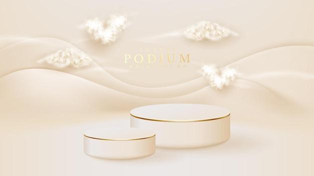 Witte podium display product en hart vorm wolk met sparkle gouden lijnen element, realistische 3d luxe stijl achtergrond, vectorillustratie voor het bevorderen van verkoop en marketing.