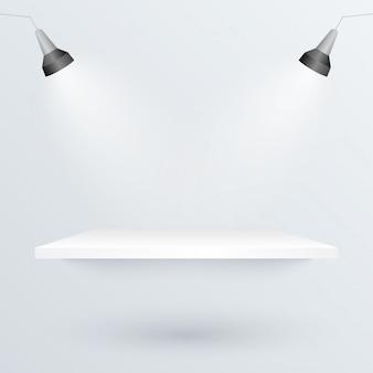 Witte podium en schijnwerpers om productillustratie te plaatsen