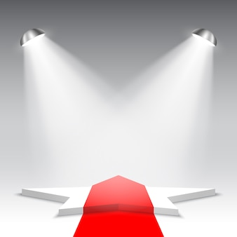 Witte podium met rode loper. voetstuk. ster. podium voor prijsuitreiking. vijfhoekige scène. .