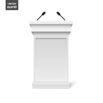 Witte podium tribune rostrum stand met microfoons geïsoleerd