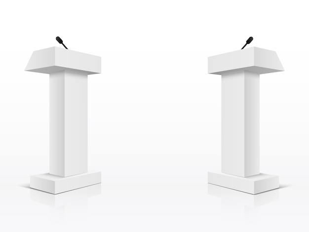 Witte podium tribune rostrum-standaards