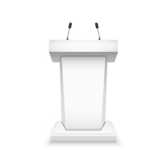 Witte podiumtribune met microfoons