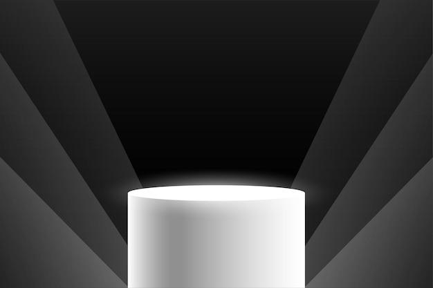 Witte podiumvertoning op zwarte achtergrond