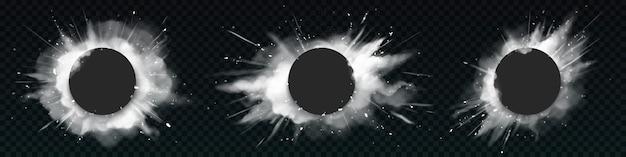 Witte poederexplosies met zwarte ronde banners.