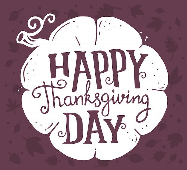 Witte pompoen en tekst happy thanksgiving day met herfstbladeren op donker