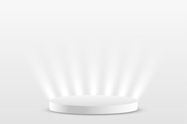 Witte prodium productdisplay met lichteffect
