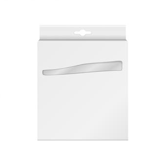 Witte productpakketdoos met venster. voor potloden, pennen, kleurpotloden, viltstiften Premium Vector
