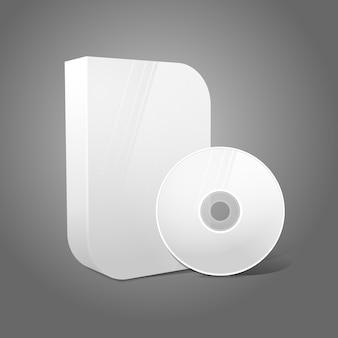 Witte realistische geïsoleerde dvd, cd, blue-ray glad gevormde doos met dvd, cd-schijf op grijze achtergrond.