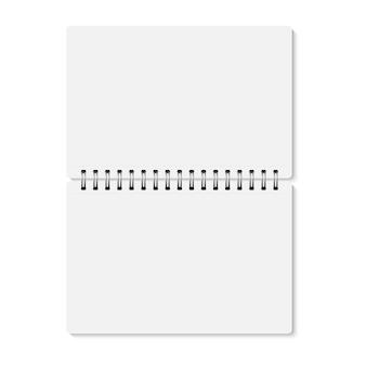 Witte realistische geopende spiraal gebonden notebook