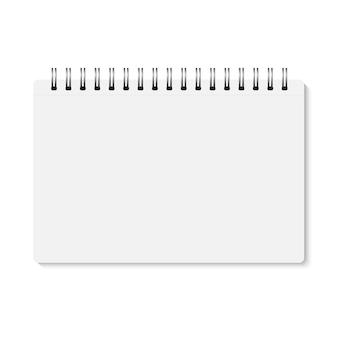 Witte realistische gesloten spiraal gebonden notebook.