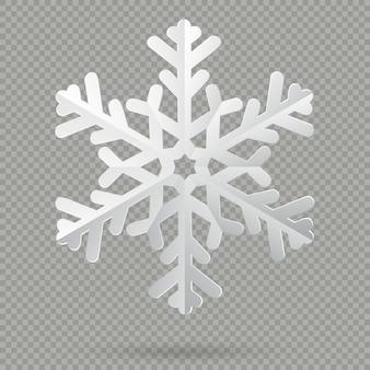 Witte realistische gevouwen papier kerst sneeuwvlok met schaduw op transparante achtergrond.