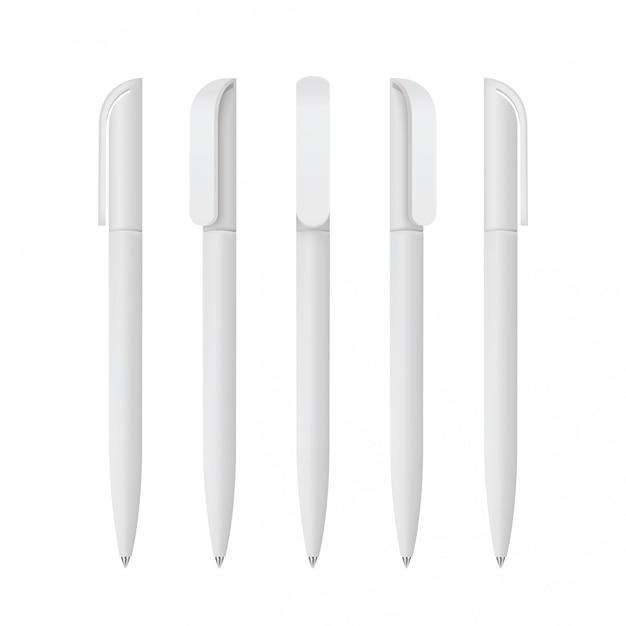 Witte realistische pennenset set van huisstijl, branding briefpapier