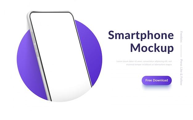 Witte realistische smartphone in de cirkel. mobiele telefoon met leeg wit scherm. moderne mobiele telefoon sjabloon op verloop achtergrond. banner van apparaatscherm