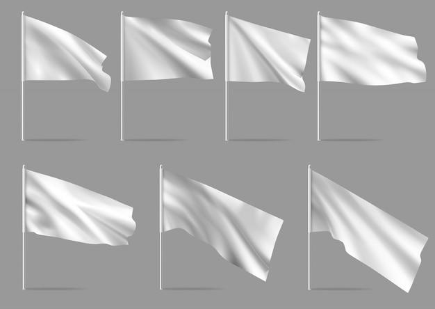 Witte realistische vlaggen.