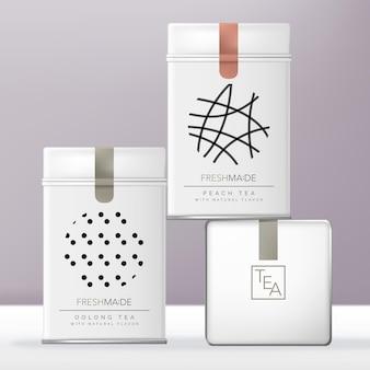 Witte rechthoekige aluminium blikken doos of blikverpakking