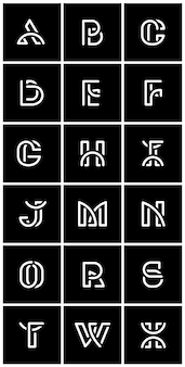 Witte retro alfabetten vectorreeks