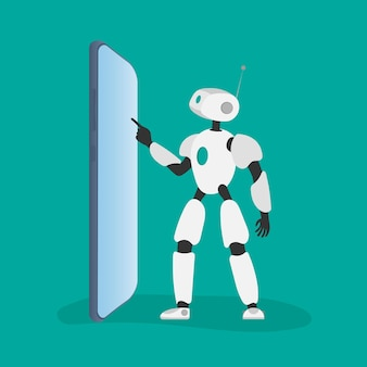 Witte robot klikt op de telefoon. vectorillustratie van een robot met een telefoon.