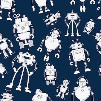 Witte robot op blauw naadloos patroon