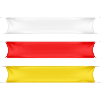 Witte, rode en gele lege lege horizontale rechthoekige banners set met hoeken touwen.