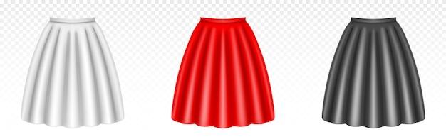 Witte, rode en zwarte vrouwenrokken met plooien die op transparant worden geïsoleerd