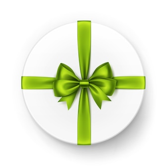 Witte ronde geschenkdoos met glanzend lichtgroen lime satijnen strik en lint