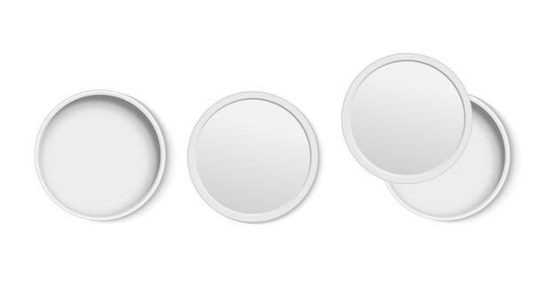 Witte ronde open lege doos bovenaanzicht.