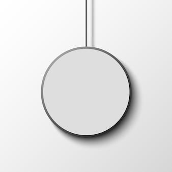 Witte ronde poster op witte muur. .