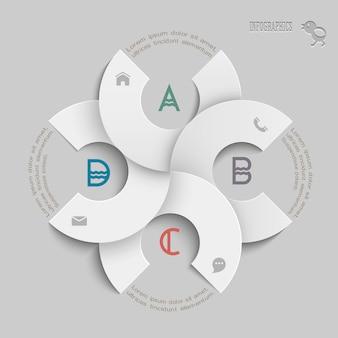 Witte ronde sjabloon voor infographics