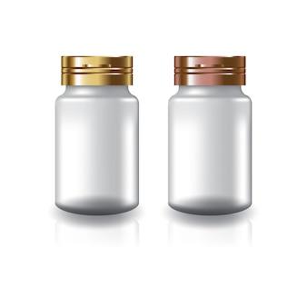 Witte ronde supplementen of medicijnfles met twee kleuren goud-koperen dop deksel.