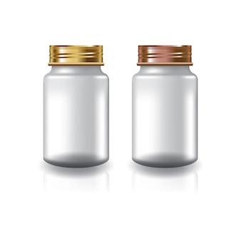 Witte ronde supplementen of medicijnfles met twee kleuren goud-koperen schroefdeksel.