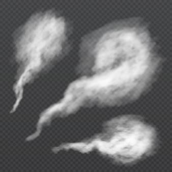 Witte rookwolk, dampspoor. vector stoomstroom geïsoleerd