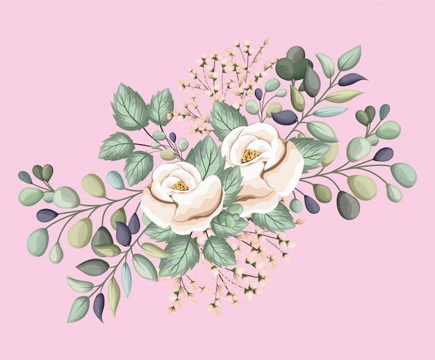Witte roos bloemen met bladeren schilderij ontwerp, natuurlijke bloemen natuur plant ornament tuindecoratie en plantkunde thema illustratie