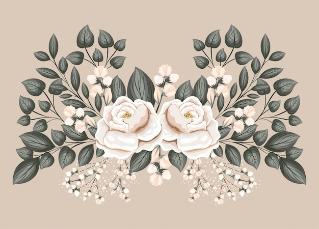 Witte roos bloemen met bladeren schilderij ontwerp, natuurlijke bloemen natuur plant ornament tuindecoratie