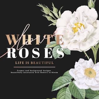 Witte rozen inspirerende kaart ontwerp
