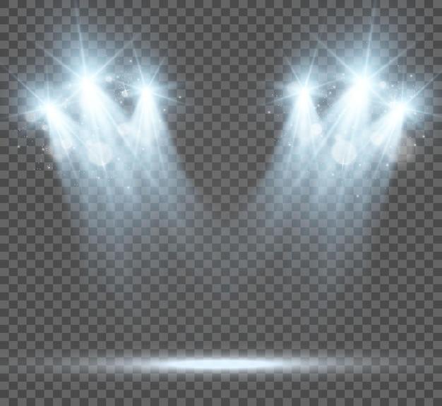 Witte scène aan met schijnwerpers vectorillustratie