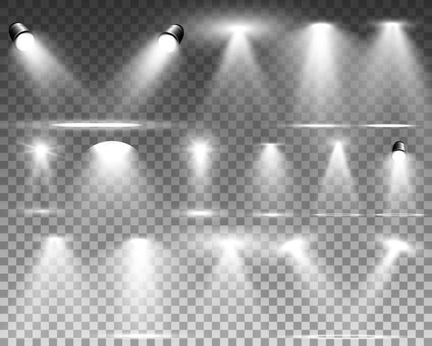 Witte scène met schijnwerpers. illustratie.