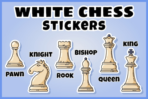 Witte schaakstukken stickers collectie. set schaaklabels