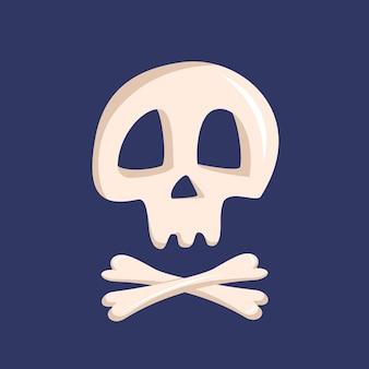 Witte schedel en gekruiste knekels