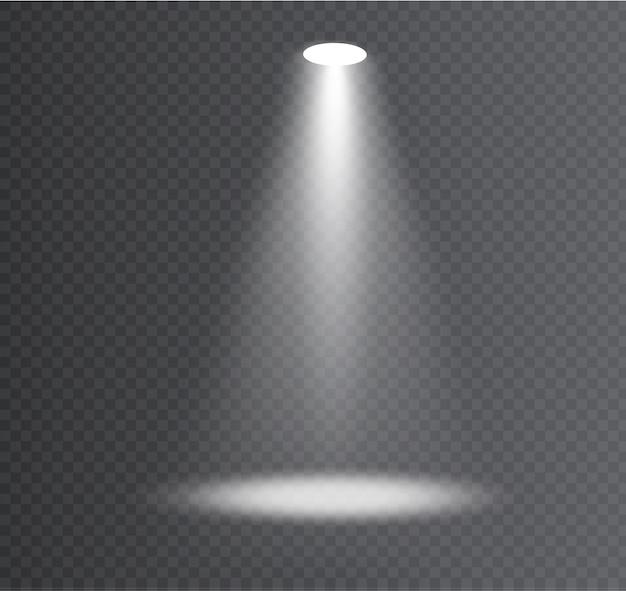 Witte schijnwerper. lichteffect. gloei geïsoleerd wit transparant lichteffect. abstract speciaal effect elementontwerp.