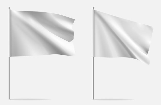 Witte schone horizontale wapperende sjabloon vlag.