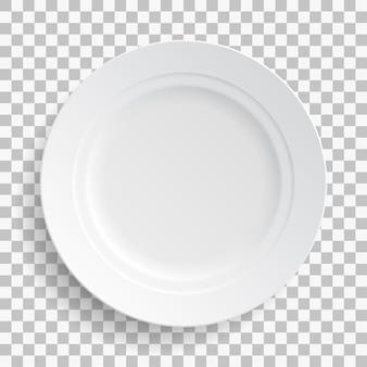 Witte schotelplaat geïsoleerd op transparante achtergrond. keukengerechten voor eten, keuken.