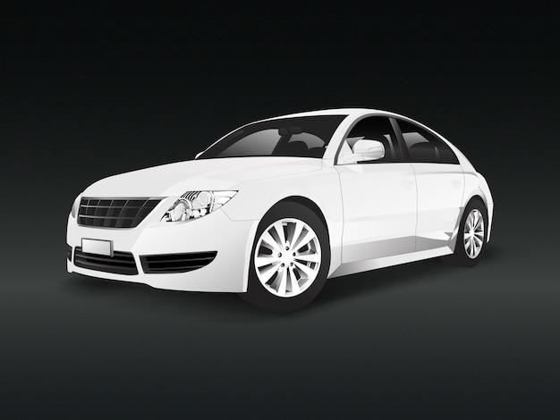 Witte sedanauto in een zwarte vector als achtergrond