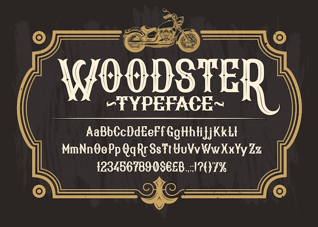 Witte serif-lettertype, alfabet, cijfers en symbolen