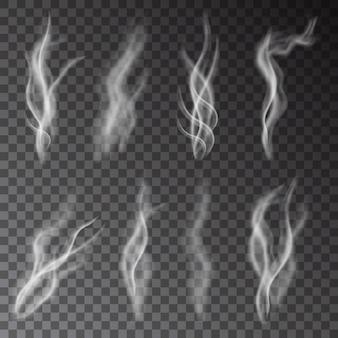 Witte sigarettenrook geïsoleerd op transparante achtergrond