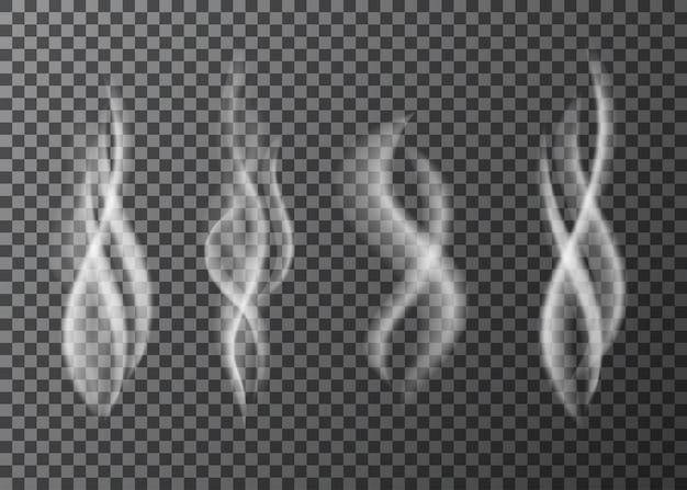 Witte sigarettenrook of damp speciaal effect geïsoleerd op transparante achtergrond