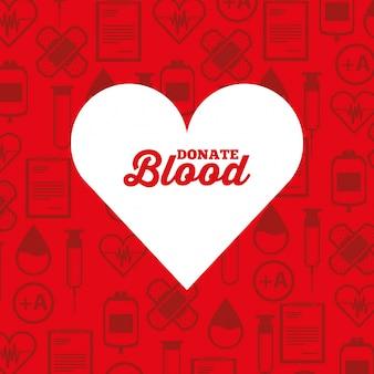 Witte silhouet hart doneren bloed medische pictogrammen achtergrond