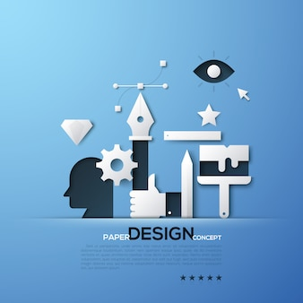Witte silhouetten van ontwerper en illustratorhulpmiddelen, hoofd, hand die pen, bezier-kromme houden. elementen in eenvoudige stijl.