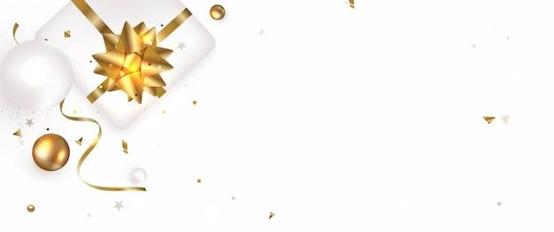 Witte sjabloon met gouden decoraties van de geschenkdoos bovenaanzicht concept voor webomslag sociale netwerken